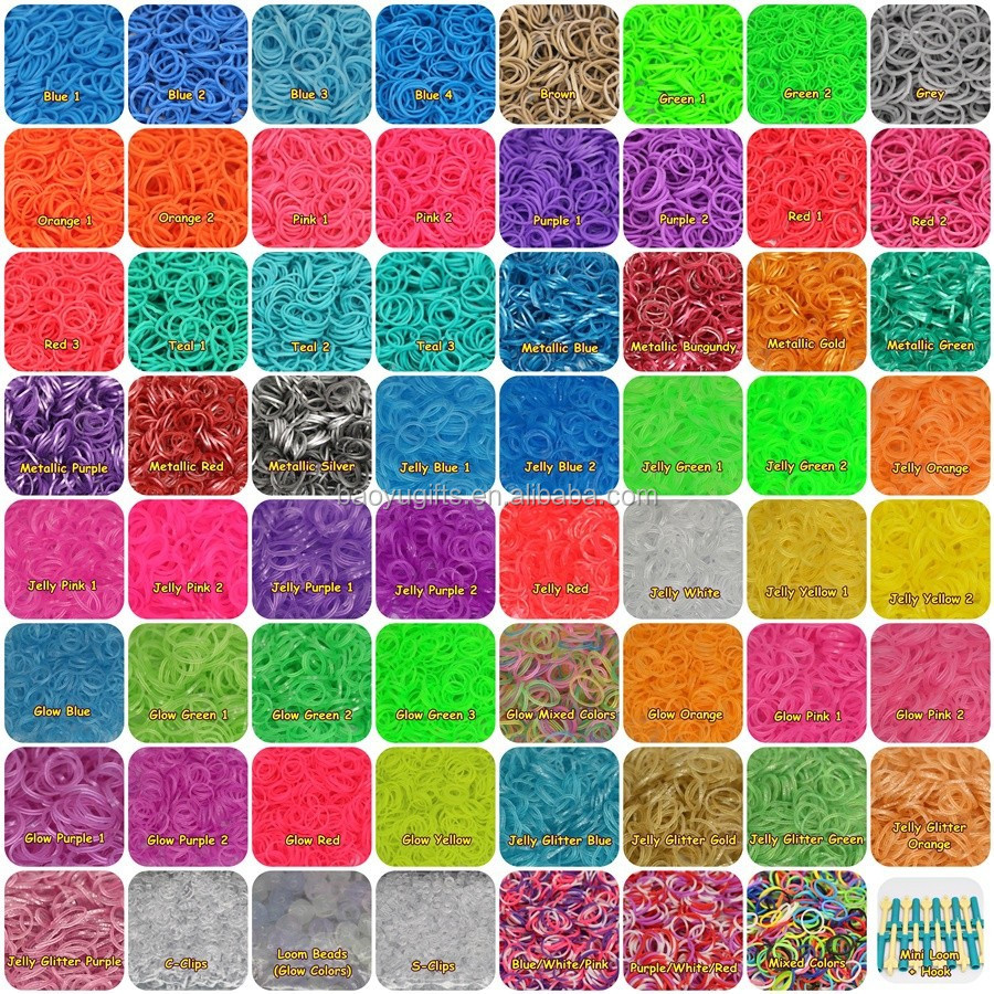 Rainbow Color Loom Bands/ Loom Rubber Bands 200 For DIY bracelets