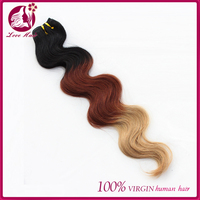 Beautiful And Charming 100% Unprocessed Virgin Human Hair body wave Ombre three tone #1b/33/27 Color Human Hair Weft