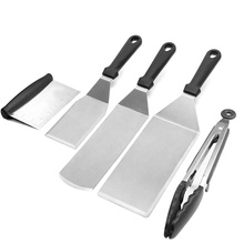 Griddle Accessory with Wooden Handle/Camping tool /7pcs Commercial Grade Stainless Steel Professional Spatula Set /