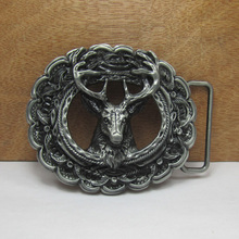 Zinc alloy fashion deer animal belt buckles with pewter finish manufacturers