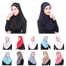 2017 solid color convenient two piece suit muslim islamic dubai instant hijab shawl cap ready to wear hijab