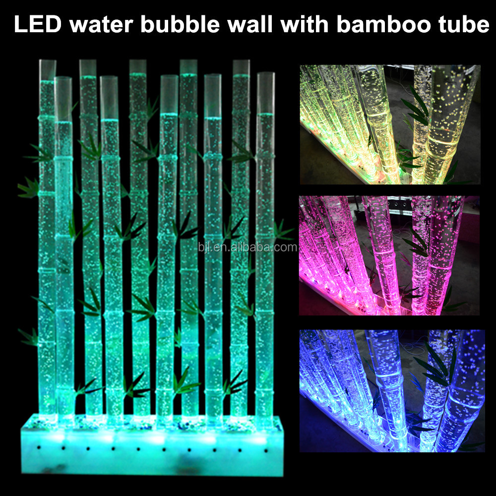 artificial acrylic water bubble decorative bamboo wall panel with LED light color changing