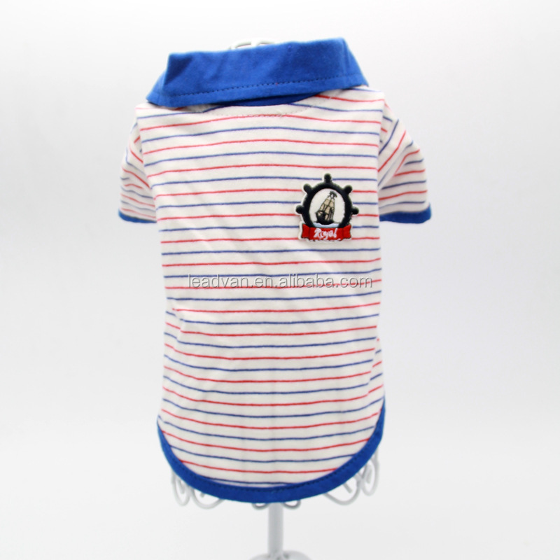 Fashion classic blue striped lapel T-shirt Teddy dog pet clothing wholesale