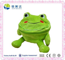 Funny Cute Large Capacity Plush Stuffed Green Frog with Storage and Zipper Functional Toy