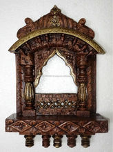Anitque Rajasthani Painted Traditional Wooden Jharokha Carving Handicraft Photo Frame