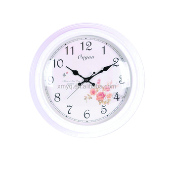white simple style round shape wooden wall clock