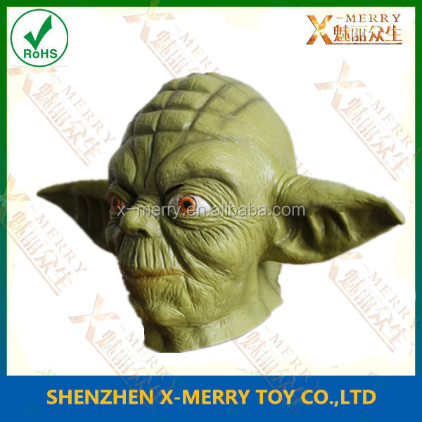X-MERRY DELUXE Latex Green Yoda Mask Space Movie Quality Fancy Party Costume Wars