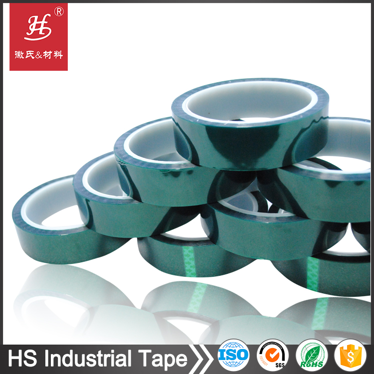 High temperature green polyester film silicone tapes for powder coating