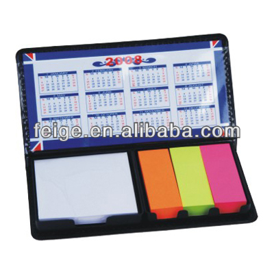 Artifical PU Leather Cover Sticky Notepad Set