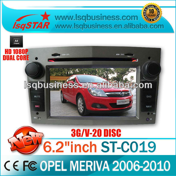 DVD player car Opel Meriva with GPS,3G, WIFI,20CDC,TV, radio, bluetooth, phonebook,RDS,big key board, wholesale