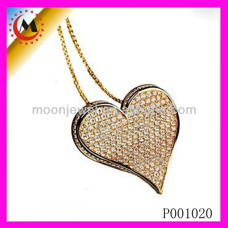 FASHION PENDANT WITH TWO HEARTS AND CHARMS