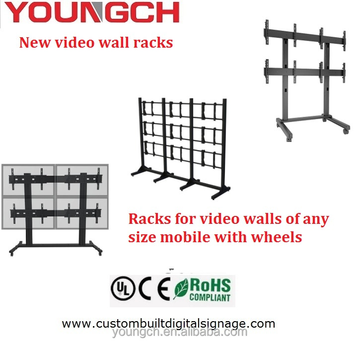Metal plate high resistance 2x2 video wall stand can mount very heavy video wall splicing units with wheels easy rack for any oc