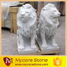 Chinese Lion Stone Statues, grey granite lion stone statue