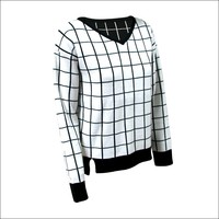 Black and white striped V-neck long sleeve woolen sweater designs for ladies DMJ-SW121