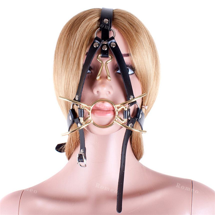 Adult Games Se Toys Harness Type Golden Metal Mouth Gag Muzzle with Nose Hook, Fetish Bondage Se Slave Erotic Toys for Couples