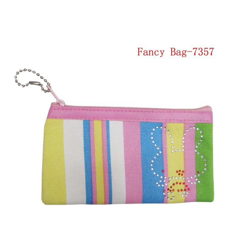 Cute colorful stripe pattern cotton fabric coin purse with zipper