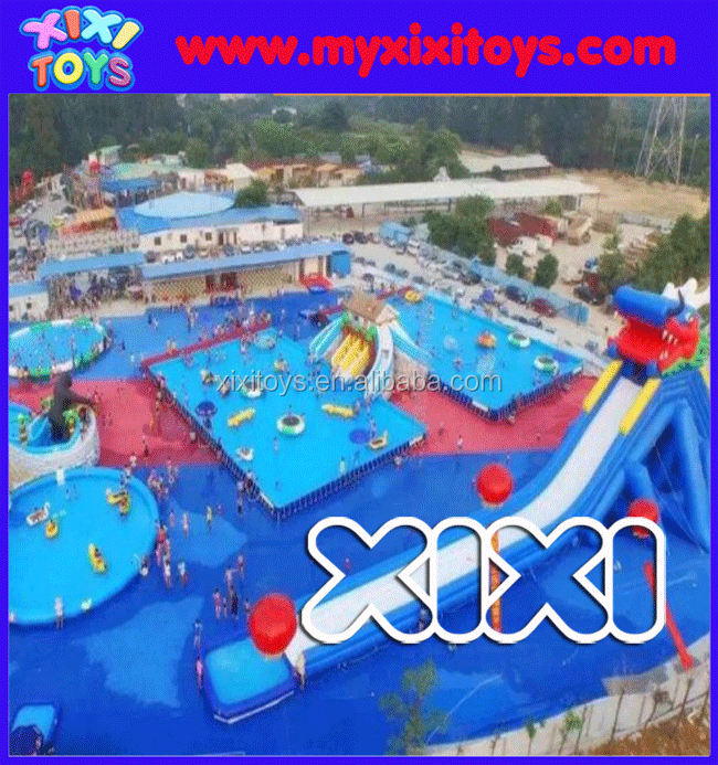 Mobile Inflatable amusement water park for kids, adults inflatable water park on land