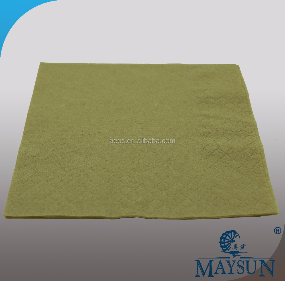 33*33 cm 1 ply 1/4 fold recycled brown paper napkin wholesale