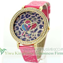 Latest design leopard print crystal heart lady luxury watches japan movt!! Leahter belt quartz rhinestone lady luxury watches!!