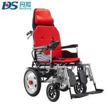 Cheap top quality rehabilitation head rest lightweight folding medical power electric wheelchair for old people
