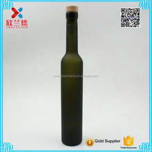 375ml frosted dark green glass wine bottle/long and thin red wine bottle for sale