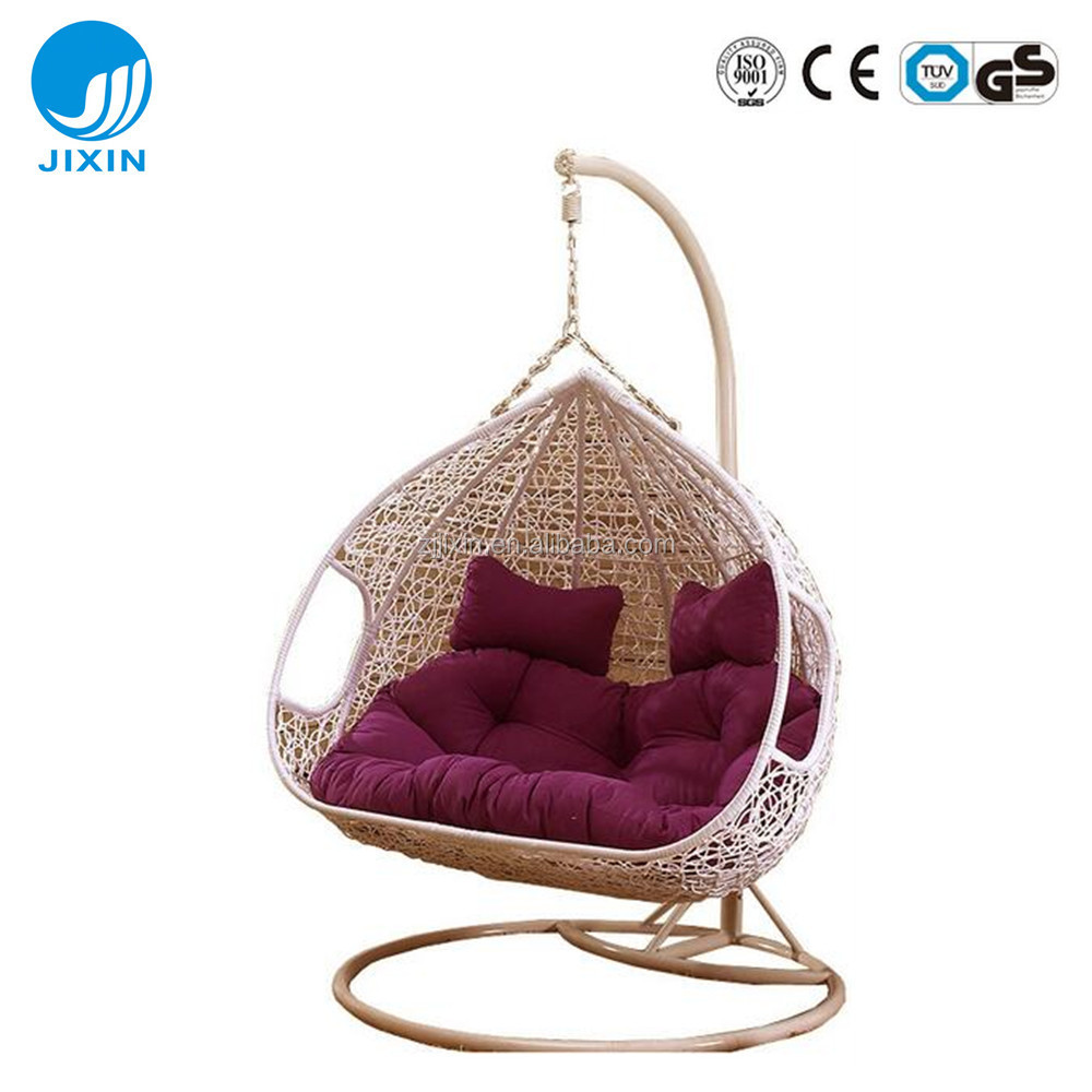 Garden rattan wicker double seat hanging egg swing chair with metal stand