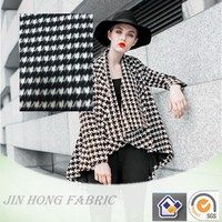 Hot sale woven brushed geometric houndstooth poly/wool/other blend fabric for fashion clothing