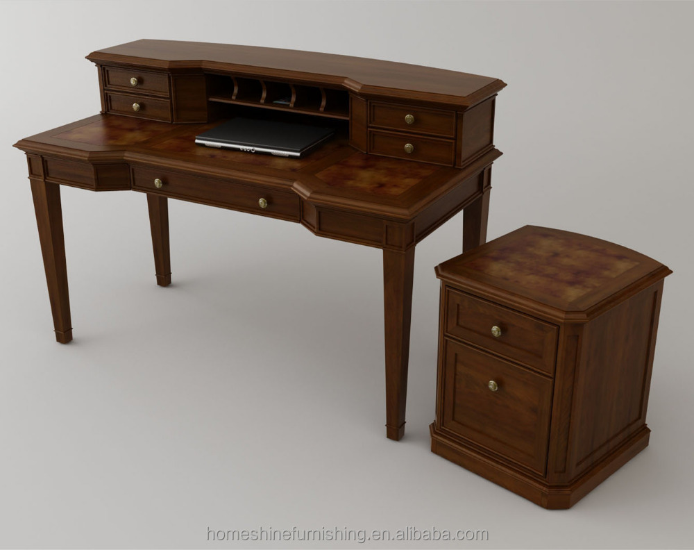 Antique wooden writing desk with drawer storage and hidden wire route