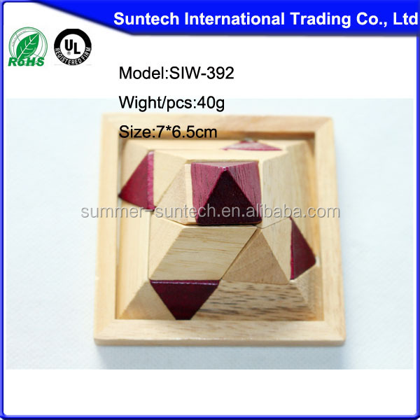 IQ Pyramid Puzzle ,Interesting Pyramid,3D Pyramid Shape Wooden IQ Game Puzzle