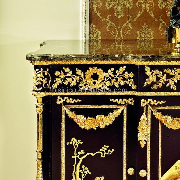 French Louis XV Style 24K Gilded Dining Room Sideboard Cabinet/Antique Reproduction Brass Decorative Cupboard, Side Cabinet