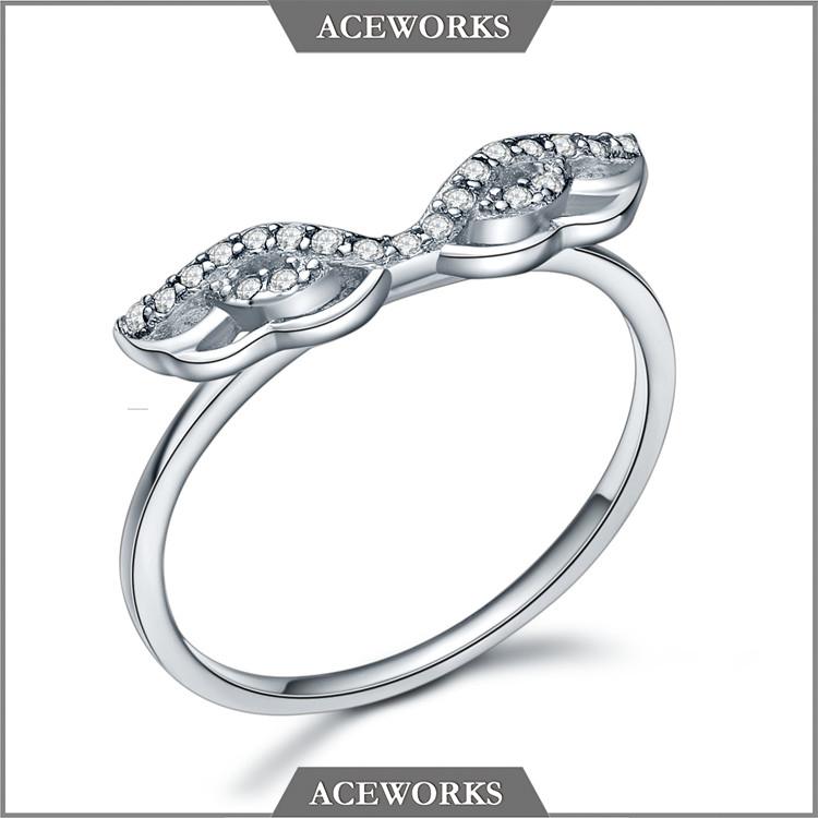 RN2634 Aceworks 2016 New Jewelry Unique Simple Silver Wing Ring For Womwen 925 Sterling Silver Paved Angel Wing Ring