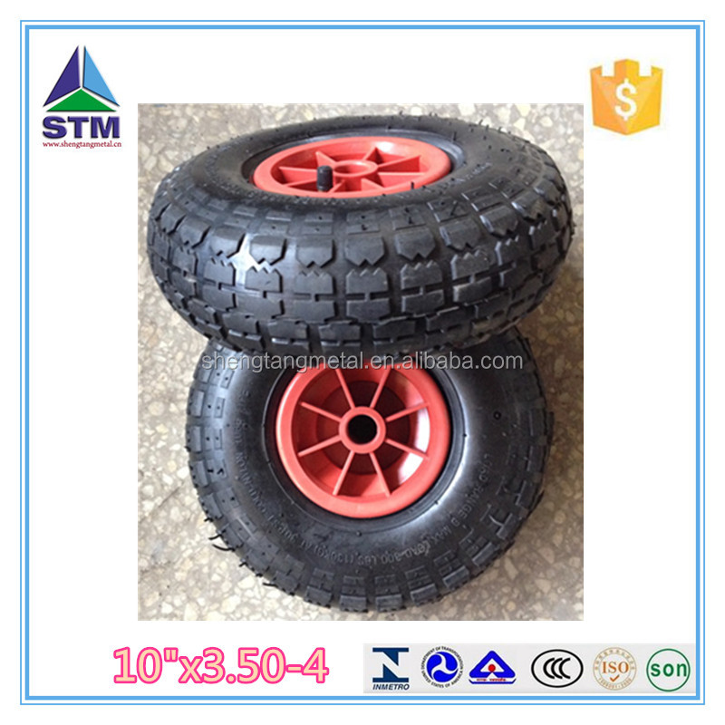 10 inch plastic rim air rubber wheel