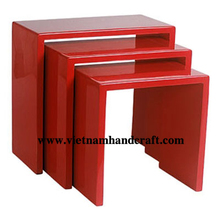 Eco-friendly hand lacquer finished vietnamese lacquered bedroom furniture in red