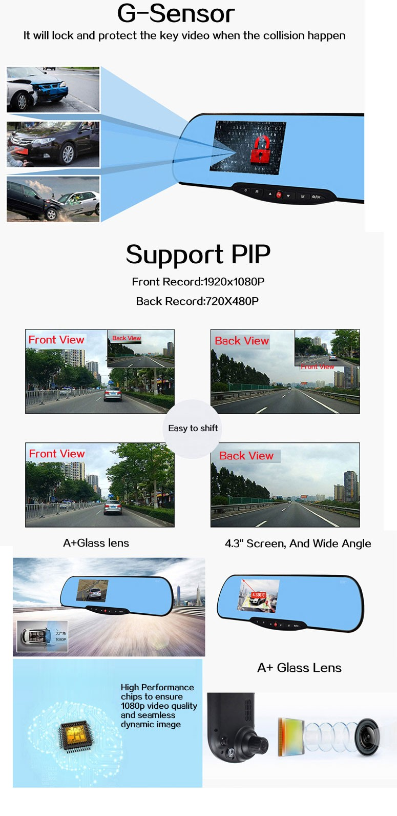 K755 AllWinner A20 chipset 1080P FULLHD digtal video rearview camera 170 degree wide-angle car video recorder