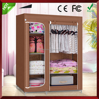 Indian design bedroom clothes storage assemble fabric wardrobe,hot sale portable cheap wardrobe