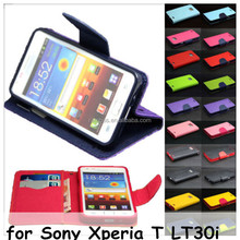 Wallet PU Leather Case Flip Cover Card Slots Stand for Sony Xperia T LT30i for Xperia J ST26i / for Xperia TIPO ST21i