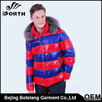 Men's leather shell white duck down feather jacket fashion and high level warm Winter jacket or Coat