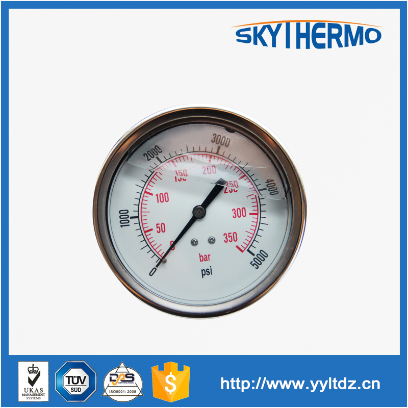 high quality stainles steel 3 inch liquid filled high pressure manometer