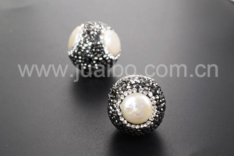 rhinestone pave ball pearl oyster boho beads for jewelry making