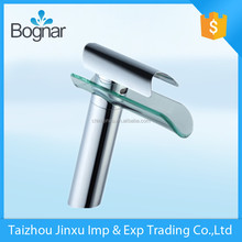 High quality vessel sink glass waterfall bathroom faucet