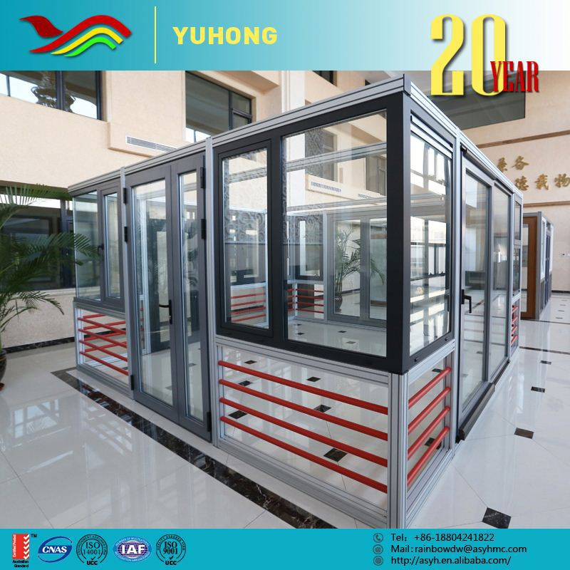 Frosted gray powder coating thermal break aluminium double glass window