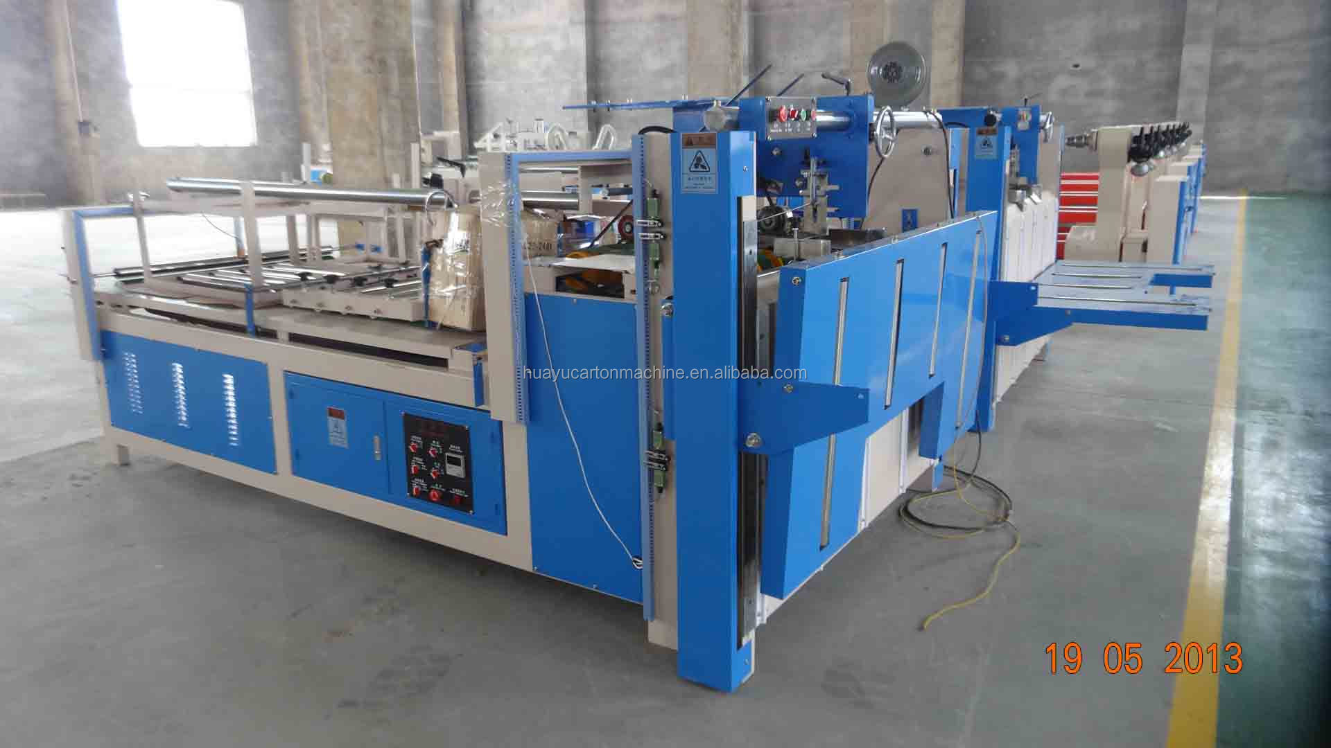 Semi-auto carton folder gluer machine, carton box flap gluing machine