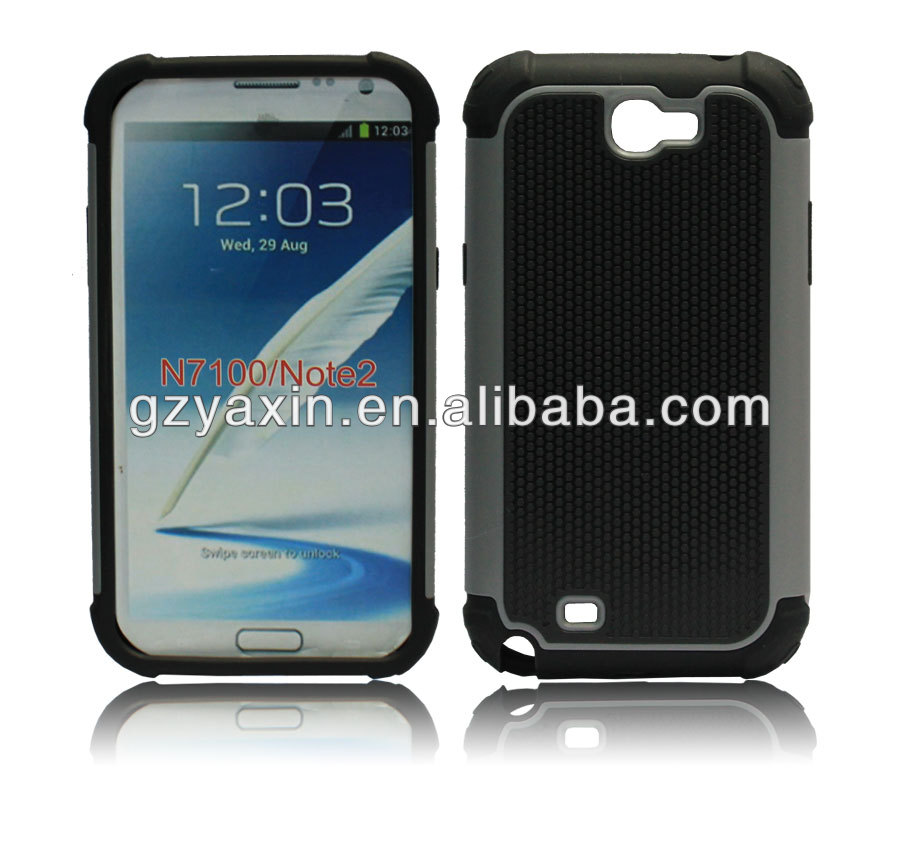 Hybrid Plastic Silicone case for samsung galaxy note2 N7100,for samsung galaxy note 2 heavy duty case