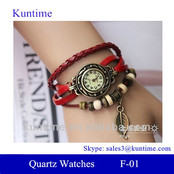Traditional classic style bell and rose quartz watches F-01 with leather strap, bronzed watch case