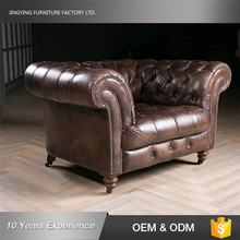 Cheap Price Genuine Leather Chesterfield Sofa With 4 Wheels