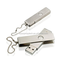twist metal swivel usb flash drive with keyring and laser engraved logo