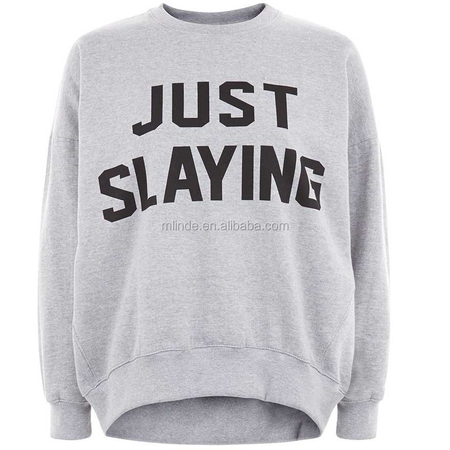 Parisian Grey Just Slaying Slogan Jumper Soft Cotton Long Sleeves Crew Neck Women Sweatshirt Without Hood