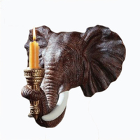 Exotic African Wall Sconce Sculpture Safari Pachyderm Elephant Candle Holder