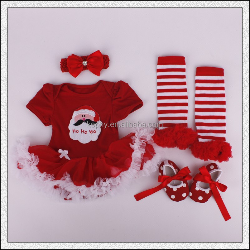 Baby Girls christmas outfit Pettiskirt and Headband and shoes Set NB-12M with leg warmers 4pcs