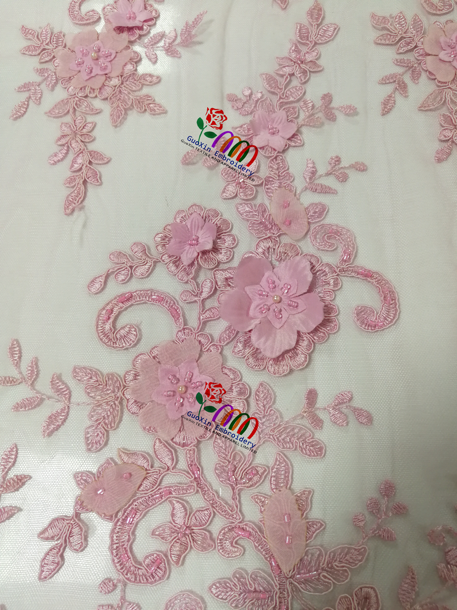 Light pink 3D lace fabric with Scallop satin flowers &beads-party dress fabric for ladies
